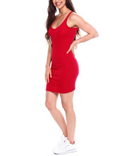 Women - Poly Spandex Rib V-Neck Tank Body Con Dress-2355229