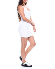 Women - Poly Spandex Rib V-Neck Tank Body Con Dress-2355219