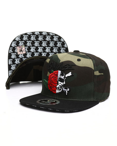 Buyers Picks - Rose Skull Split Snapback Hat