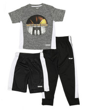 HIND - 3 Pc Graphic Tee, Shorts & Pants Set (4-7)-2350817