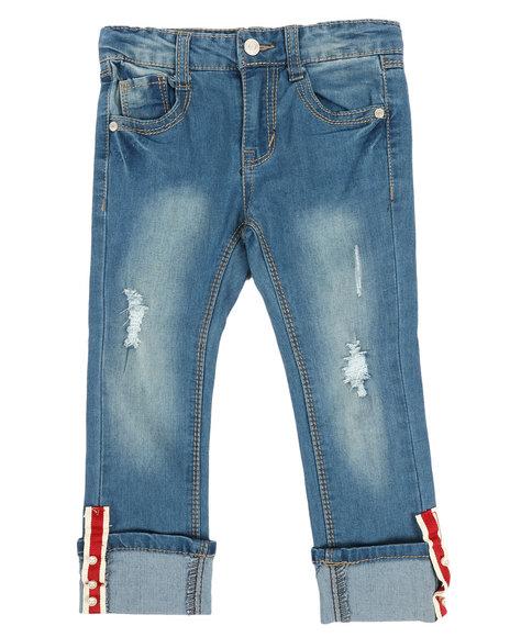 La Galleria - Crop Jeans W/Cuff Taping & Pearls (4-6X)