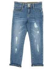 Jeans - Destructed Crop Jeans W/ Wide Waistband (7-16)-2356312