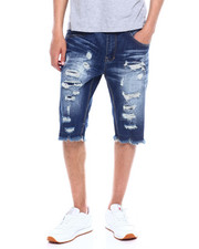 SMOKE RISE - Rip and tear denim short-2358039