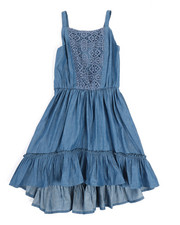 BCBGirls - Denim Lace Insert Dress (4-6X)-2357625