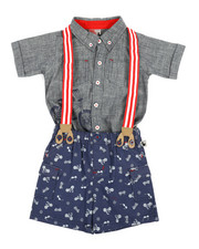 Boys - Bicycle Print 3Pc Pants Set (12-24Mo)-2356005