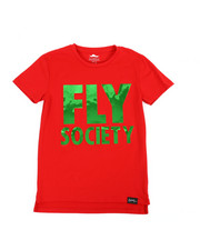 Fly Society - Embossed Mirror Metallic Logo Print Tee (8-20)-2358663