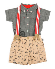 Duck Duck Goose - Bicycle Print 3Pc Pants Set (0-9Mo)-2355996