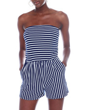 Jumpsuits - Stripe Tube Romper W/Ruched Side-2360538