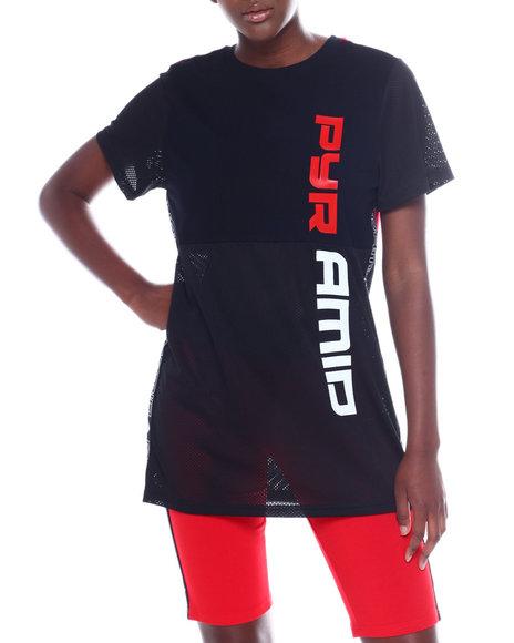 Black Pyramid - Split Race Mesh T-Shirt Dress