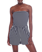 Jumpsuits - Stripe Tube Romper W/Ruched Side-2360533