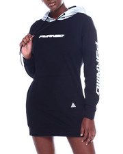 Black Pyramid - Reflective Hoodie Dress-2358681