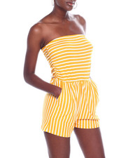 Jumpsuits - Stripe Tube Romper W/Ruched Side-2360548