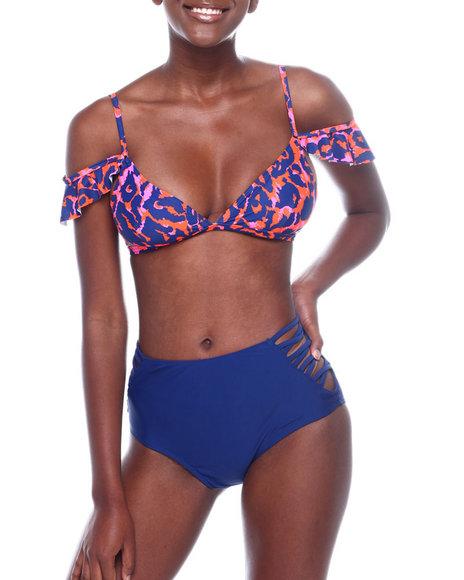 Fashion Lab - Off Shldr Frill Bikini Top & HI Wst Cage SD Bikini Bottom
