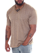 Big & Tall - Melange V-Neck S/S Tee Shirt (B&T)-2360382