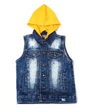Arcade Styles - Stretch Hoodied Denim Vest W/ Zip Off Hood (8-20)-2360733