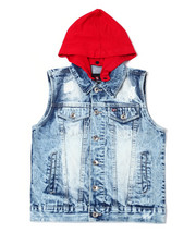 Arcade Styles - Stretch Hoodied Denim Vest W/ Zip Off Hood (8-20)-2360738