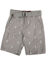 Boys - All Over Anchor Print Belted Shorts (8-18)-2360106
