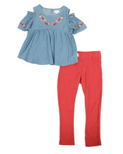 BCBGirls - 2 Pc Chambray Top & Leggings Set (4-6X)-2357620