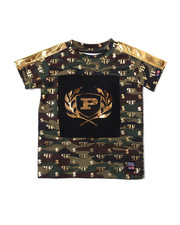 Boys - All Over Printed Camo Embossed Metallic Vinyl Patch Crew Neck Tee (8-20)-2362284