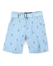 Boys - All Over Anchor Print Belted Shorts (8-18)-2360101