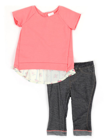 BCBGirls - 2 Pc Flyaway French Terry Top and Denim Knit Leggings Set (2T-4T)