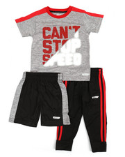 HIND - 3 Pc Graphic Tee, Shorts & Pants Set (2T-4T)-2350804