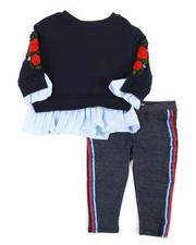 Girls - 2 Pc Floral Embroidered Sweatshirt & Leggings Set (Infant)-2357599