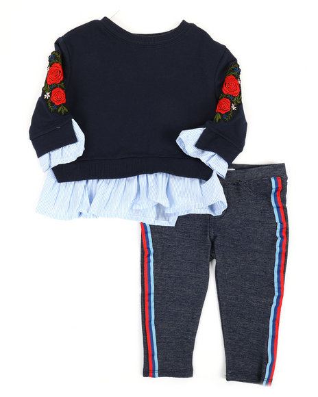 BCBGirls - 2 Pc Floral Embroidered Sweatshirt & Leggings Set (Infant)
