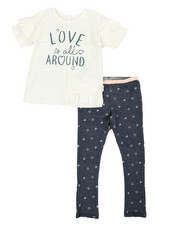 BCBGirls - 2 Pc Flyaway French Terry Top and Denim Knit Leggings Set (4-6X)-2357590