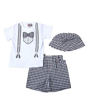 Duck Duck Goose - Knit Woven Short Sets (Knit Creeper/Woven Shorts & Hat) (Infant)-2362530