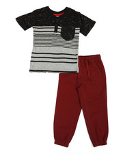 Arcade Styles - Color Block Knit Top & Twill Jogger Set (4-7)-2357465