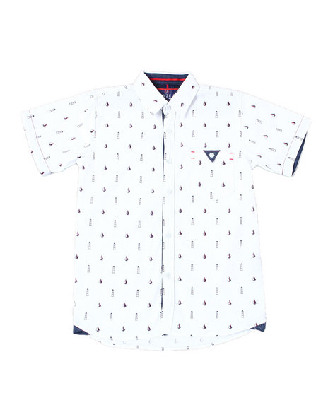 Arcade Styles - Lighthouse Sailboat All Over Print S/S Woven Shirt (8-20)