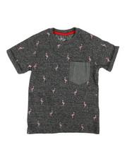 Arcade Styles - Allover Marled Flamingo Print Tee (4-7)-2362027