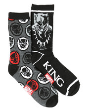 DRJ SOCK SHOP - Black Panther King 2 Pack Crew Socks-2360073