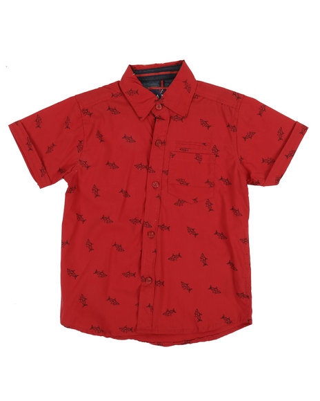 Arcade Styles - Origami Shark All Over Print Woven Shirt (4-7)