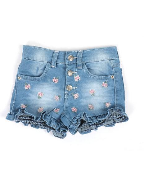 Kensie Girl - Fiona Denim Ruffle Embroidered Shorts (4-6X)