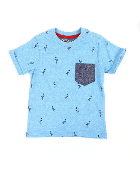 Arcade Styles - Allover Marled Flamingo Print Tee (2T-4T)