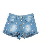 Bottoms - Fiona Denim Ruffle Embroidered Shorts (7-16)-2362906