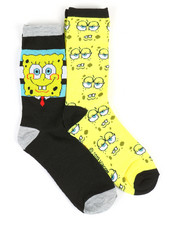 DRJ SOCK SHOP - SpongeBob 2 Pack Crew Socks-2360065