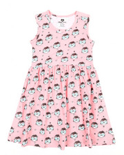 Girls - Cat Print Knit Dress (7-16)-2363959