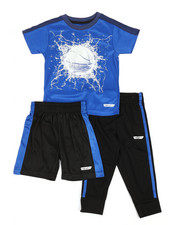 HIND - 3 Pc Graphic Tee, Shorts & Pants Set (2T-4T)-2350800