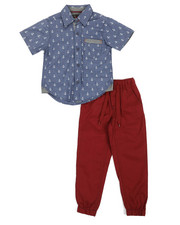 Boys - 2 Pc All Over Print Woven Shirt & W/Twill Jogger Pants Set (4-7)-2361250