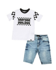 Boys - 2Pc Denim Shorts Set (8-20)-2357375