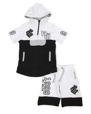 Boys - 2Pc French Terry Hoodie & Short Set (4-7)-2358287