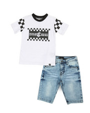 Boys - 2Pc Tee & Denim Shorts Set (4-7)-2361255