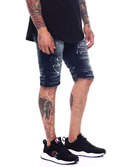 Buyers Picks - Moto Seam Knee Stretch Denim Short - Splatter