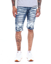 Shorts - Moto Seam Knee Stretch Denim Short - Splatter-2365104