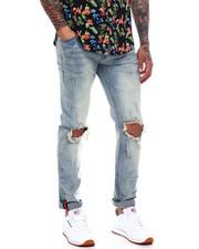 Men - Webbing Tape Destroyed Knee Slim Jean-2365693