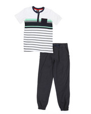 Boys - Color Block Knit Top & Twill Jogger Set (8-20)-2357574