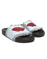 Fashion Lab - Denim Slides W/ Lip Patch-2364879